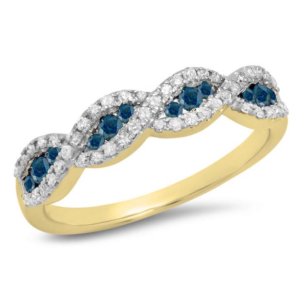 0.35 Carat (ctw) 14K Yellow Gold Round Blue Diamond Ladies Swirl Anniversary Wedding Band Stackable Ring 1/3 CT