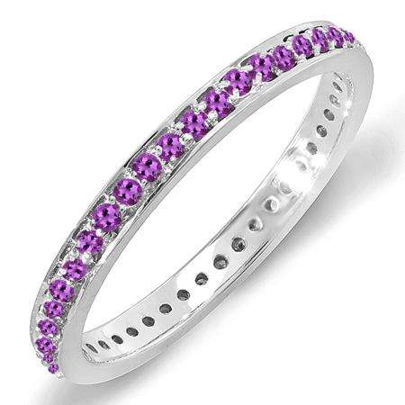 0.48 Carat (ctw) 14K White Gold Round Amethyst Ladies Wedding Anniversary Eternity Band Stackable Ring 1/2 CT