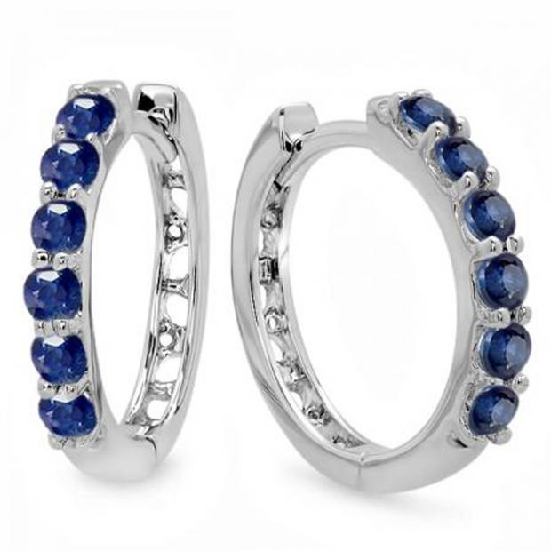 0.50 Carat (ctw) 10K White Gold Round Blue Sapphire Ladies Hoop Earrings 1/2 CT