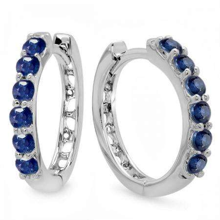 0.50 Carat (ctw) 18K White Gold Round Blue Sapphire Ladies Hoop Earrings 1/2 CT