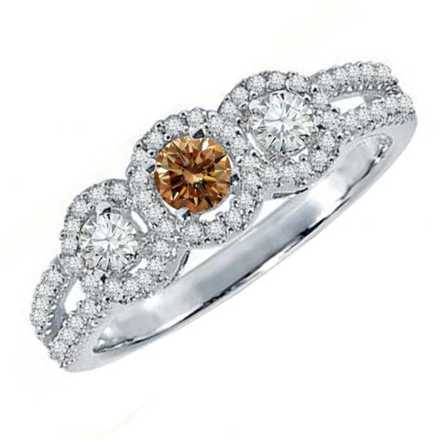 0.50 Carat (ctw) 14K White Gold Round Champagne & White Diamond Ladies 3 Stone Split Shank Bridal Engagement Ring 1/2 CT