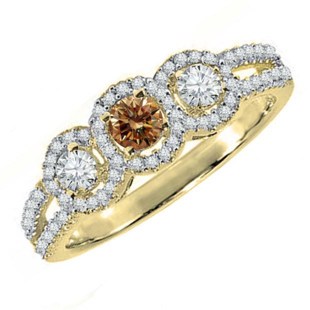 0.50 Carat (ctw) 18K Yellow Gold Round Champagne & White Diamond Ladies 3 Stone Split Shank Bridal Engagement Ring 1/2 CT