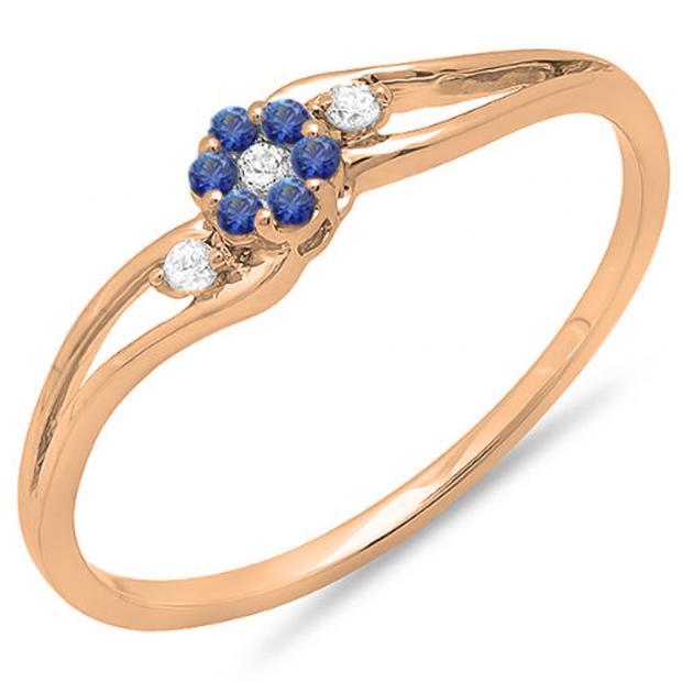 0.10 Carat (ctw) 18K Rose Gold Round White Diamond & Blue Sapphire Ladies Bridal Swirl Split Shank Cluster Promise Ring 1/10 CT