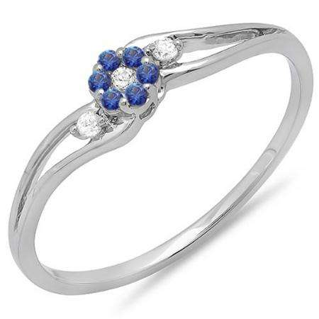 0.10 Carat (ctw) 18K White Gold Round White Diamond & Blue Sapphire Ladies Bridal Swirl Split Shank Cluster Promise Ring 1/10 CT