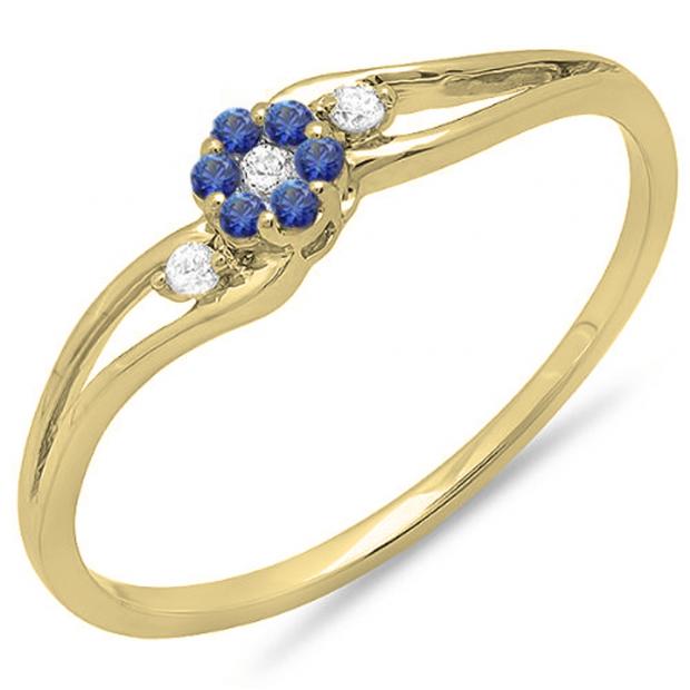 0.10 Carat (ctw) 18K Yellow Gold Round White Diamond & Blue Sapphire Ladies Bridal Swirl Split Shank Cluster Promise Ring 1/10 CT