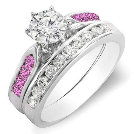 1.00 Carat (ctw) 14K White Gold Round Pink Sapphire & White Diamond Ladies Bridal Engagement Ring Set With Matching Band 1 CT