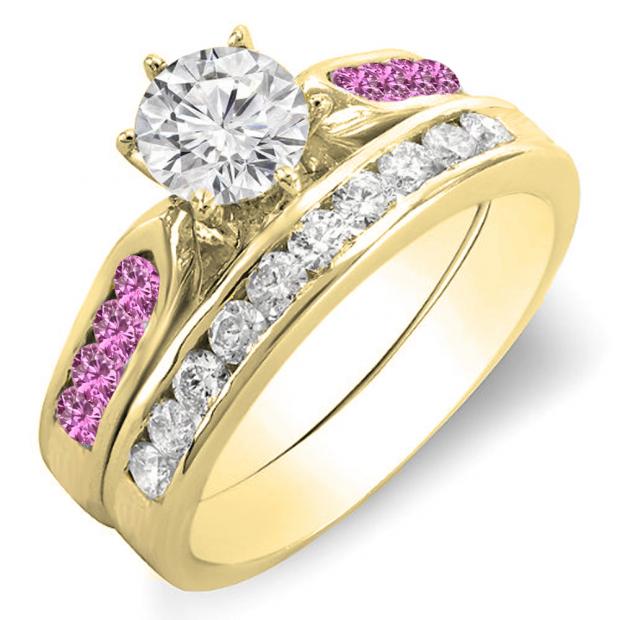 1.00 Carat (ctw) 14K Yellow Gold Round Pink Sapphire & White Diamond Ladies Bridal Engagement Ring Set With Matching Band 1 CT