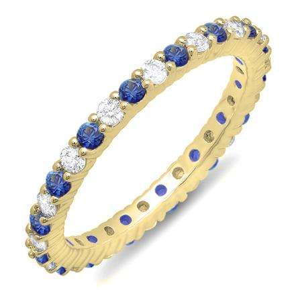 1.00 Carat (ctw) 10K Yellow Gold Round Blue Sapphire & White Diamond Ladies Eternity Anniversary Stackable Ring Wedding Band 1 CT