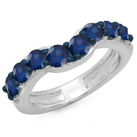 1.00 Carat (ctw) 10K White Gold Round Blue Sapphire Ladies Anniversary Wedding Band Matching Ring 1 CT