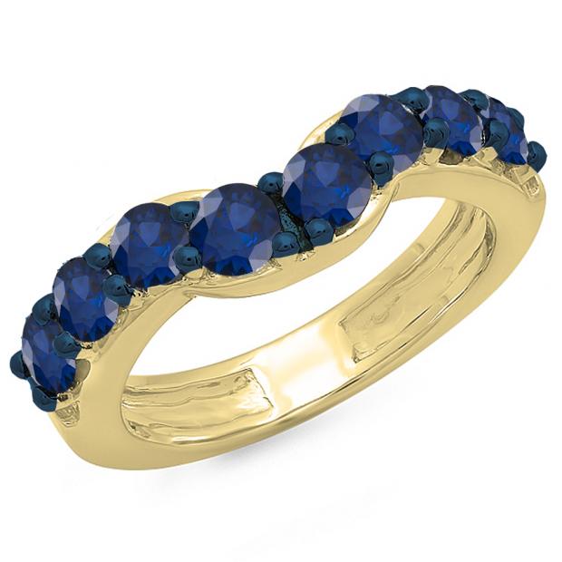 1.00 Carat (ctw) 10K Yellow Gold Round Blue Sapphire Ladies Anniversary Wedding Band Matching Ring 1 CT