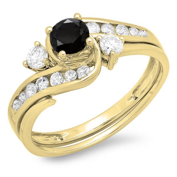 0.90 Carat (ctw) 14K Yellow Gold Round Black And White Diamond Ladies Swirl Bridal Engagement Ring Matching Band Set