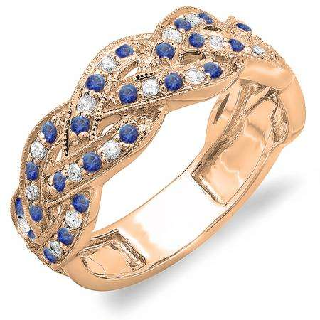 0.58 Carat (ctw) 18K Rose Gold Round White Diamond & Blue Sapphire Ladies Anniversary Wedding Matching Band Stackable Swirl Ring 1/2 CT