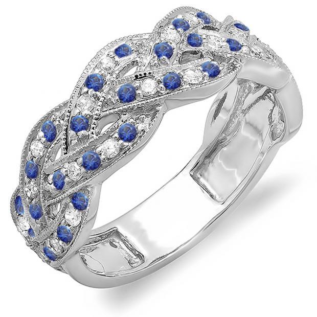 0.58 Carat (ctw) 18K White Gold Round White Diamond & Blue Sapphire Ladies Anniversary Wedding Matching Band Stackable Swirl Ring 1/2 CT