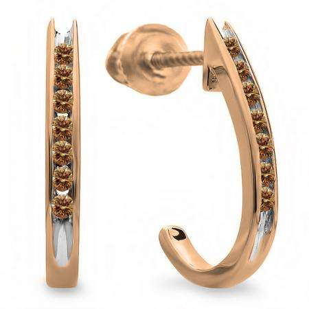 0.15 Carat (ctw) 10K Rose Gold Round Champagne Diamond Ladies Fancy J Shaped Hoop Earrings 1/4 CT