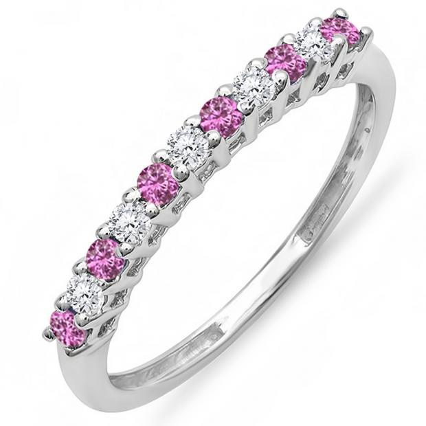 0.33 Carat (ctw) 14K White Gold Round White Diamond & Pink Sapphire Ladies Anniversary Stackable Wedding Band 1/3 CT