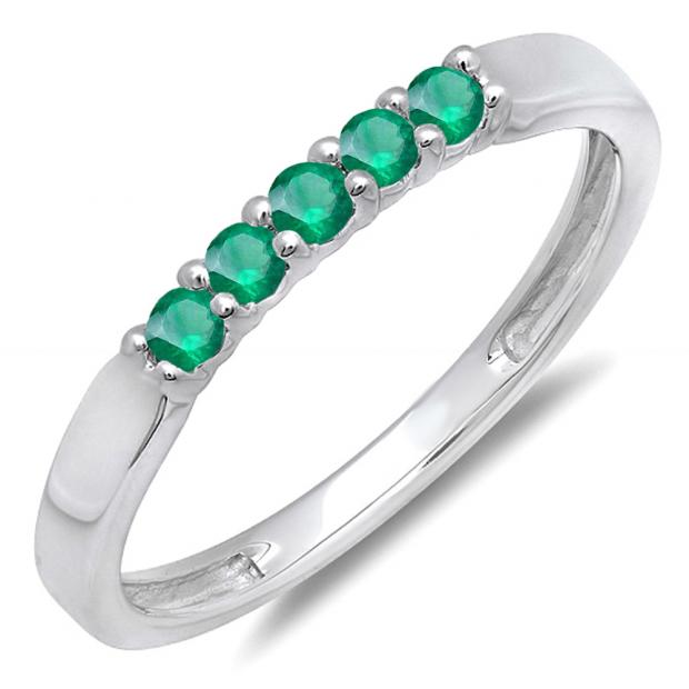 0.25 Carat (ctw) 18K White Gold Round Emerald 5 Stone Ladies Anniversary Wedding Band Ring 1/4 CT