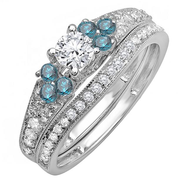 1.00 Carat (ctw) 10K White Gold Round Blue And White Diamond Ladies Bridal Engagement Ring Matching Band Set