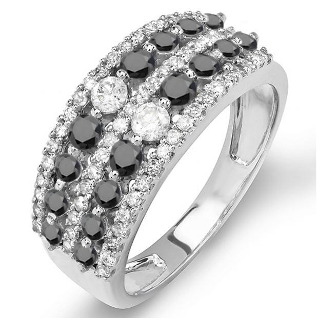 1.15 Carat (ctw) 18K White Gold Round Black And White Diamond Ladies Anniversary Wedding Band Ring
