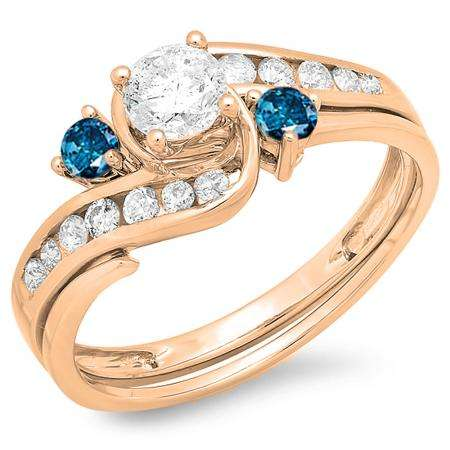 0.90 Carat (ctw) 18K Rose Gold Round Blue And White Diamond Ladies Swirl Bridal Engagement Ring Matching Band Set
