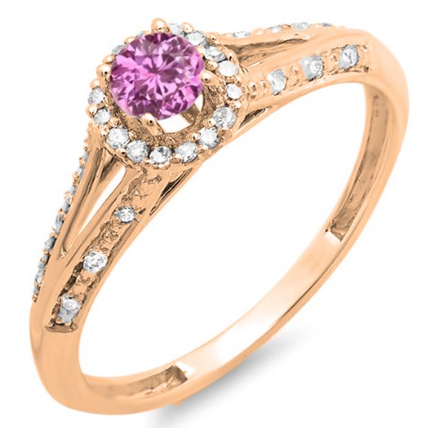 0.40 Carat (ctw) 14K Rose Gold Round Pink Sapphire And White Diamond Ladies Engagement Halo Style Split Shank Bridal Ring