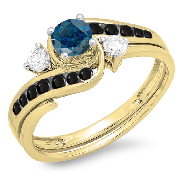 0.90 Carat (ctw) 18K Yellow Gold Round Blue Black & White Diamond Ladies Swirl Bridal Engagement Ring Matching Band Set
