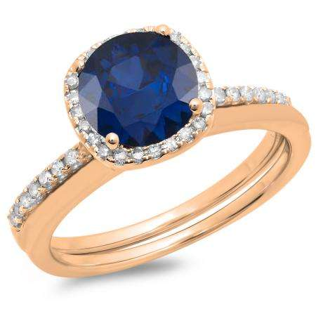 1.50 Carat (ctw) 14K Rose Gold Round Cut Blue Sapphire & White Diamond Ladies Bridal Halo Engagement Ring With Matching Band Set 1 1/2 CT