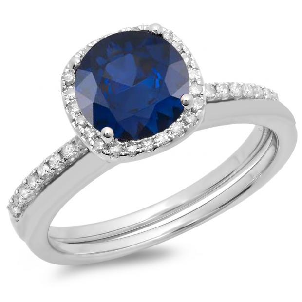 1.50 Carat (ctw) 14K White Gold Round Cut Blue Sapphire & White Diamond Ladies Bridal Halo Engagement Ring With Matching Band Set 1 1/2 CT
