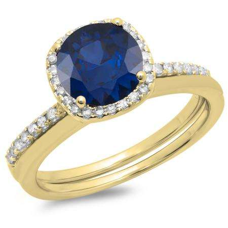1.50 Carat (ctw) 18K Yellow Gold Round Cut Blue Sapphire & White Diamond Ladies Bridal Halo Engagement Ring With Matching Band Set 1 1/2 CT