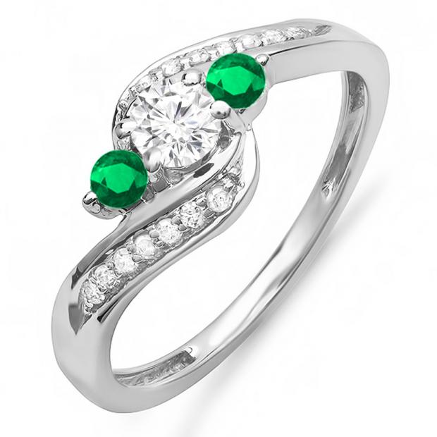 0.80 Carat (ctw) 10K White Gold Round Tsavorite & White Diamond Ladies Swirl 3 Stone Bridal Engagement Ring 3/4 CT
