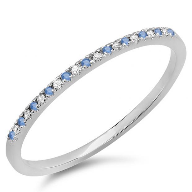 dc7f9921736 0.09 Carat (ctw) 10K White Gold Round Blue Sapphire   White Diamond Ladies  Dainty Anniversary Wedding Band Stackable Ring