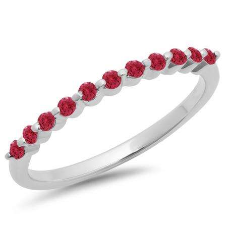 0.25 Carat (ctw) 10K White Gold Round Ruby Ladies 11 Stone Anniversary Wedding Stackable Band 1/4 CT