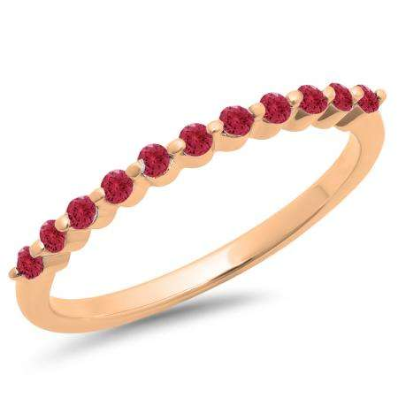 0.25 Carat (ctw) 18K Rose Gold Round Ruby Ladies 11 Stone Anniversary Wedding Stackable Band 1/4 CT