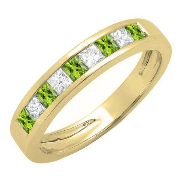 0.75 Carat (ctw) 10K Yellow Gold Princess Cut Peridot & White Diamond Ladies Anniversary Wedding Band Stackable Ring 3/4 CT