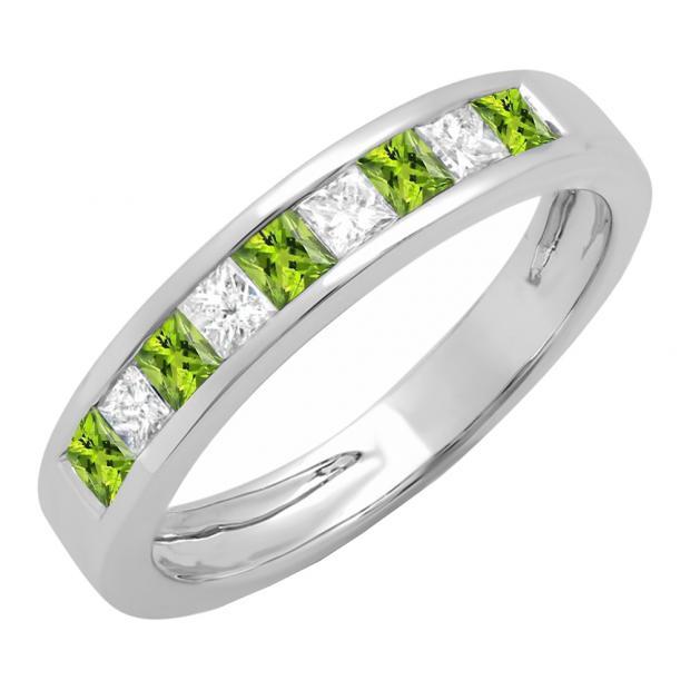 0.75 Carat (ctw) 14K White Gold Princess Cut Peridot & White Diamond Ladies Anniversary Wedding Band Stackable Ring 3/4 CT
