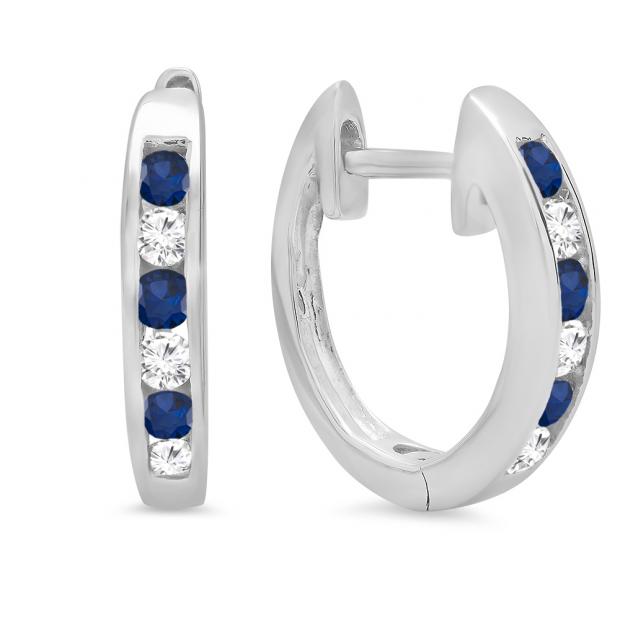 0.36 Carat (ctw) 18K White Gold Round White Diamond & Blue Sapphire Ladies Hoop Earrings 1/3 CT
