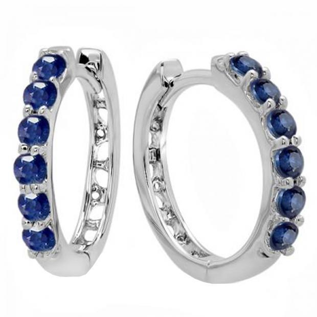 0.50 Carat (ctw) 14K White Gold Round Blue Sapphire Ladies Huggies Hoop Earrings 1/2 CT