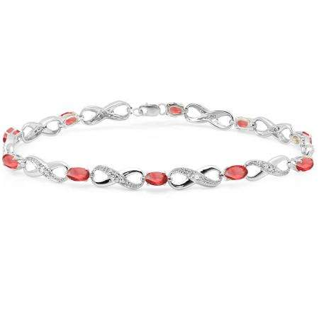 2.27 Carat (ctw) Sterling Silver Real Oval Cut Ruby & Round Cut White Diamond Ladies Infinity Link Tennis Bracelet