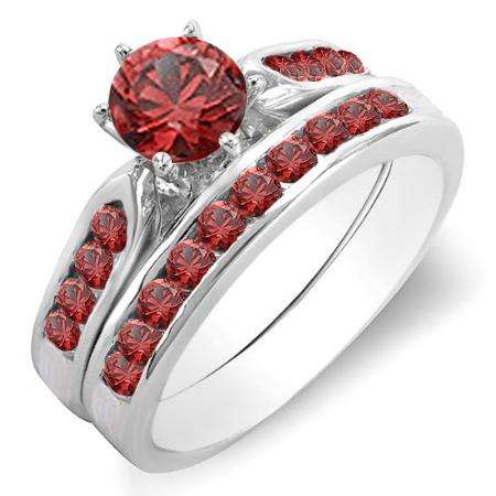 1.00 Carat (ctw) 14K White Gold Round Ruby Ladies Bridal Engagement Ring Set With Band 1 CT