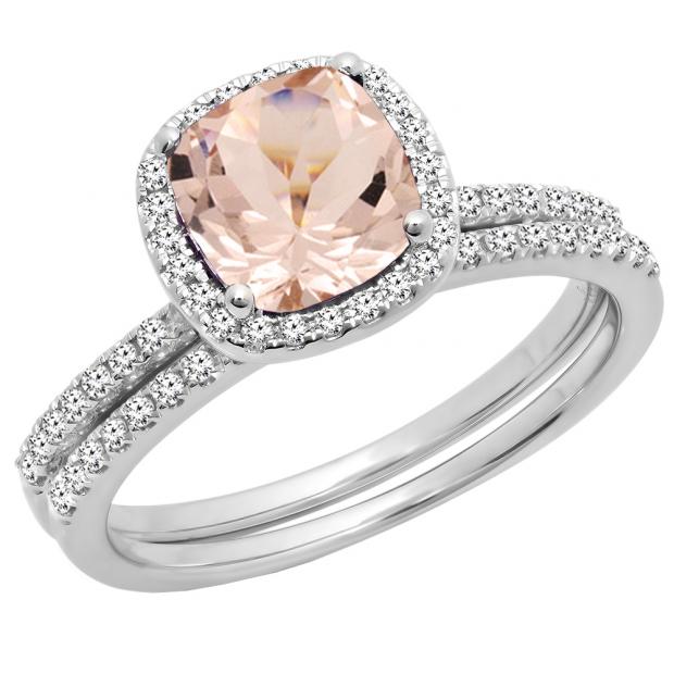 10K White Gold 7 MM Cushion Cut Morganite & Round Cut Diamond Ladies Bridal Halo Engagement Ring Set