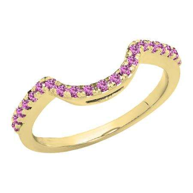 0.25 Carat (ctw) 14K Yellow Gold Round Pink Sapphire Ladies Contour Wedding Band Guard Ring 1/4 CT