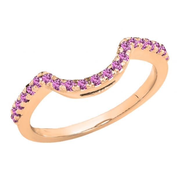 0.25 Carat (ctw) 18K Rose Gold Round Pink Sapphire Ladies Contour Wedding Band Guard Ring 1/4 CT