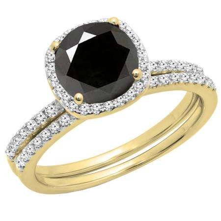 2.00 Carat (ctw) 14K Yellow Gold Round Cut Black & White Diamond Ladies Bridal Halo Engagement Ring With Matching Band Set 2 CT