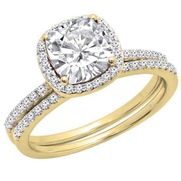 14K Yellow Gold 7 MM Created Cushion White Sapphire & Round Diamond Bridal Halo Engagement Ring Set