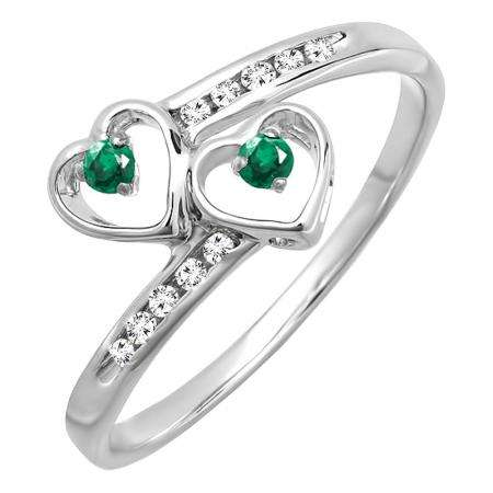 Sterling Silver Round Green Emerald & White Diamond Ladies Bridal Double Heart Promise Ring