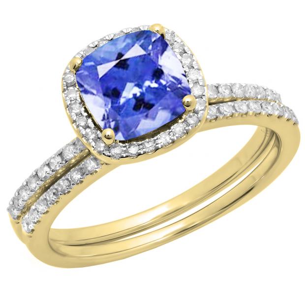 18K Yellow Gold 7 MM Cushion Tanzanite & Round Diamond Ladies Bridal Engagement Ring Set
