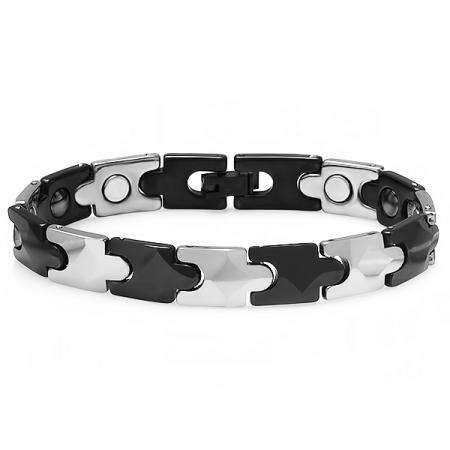 Tungsten Carbide Two Tone Black & White Plated Magnetic Therapy Bio Healing Mens Link Bracelet (9.75 MM Width x 7 Inch Length)