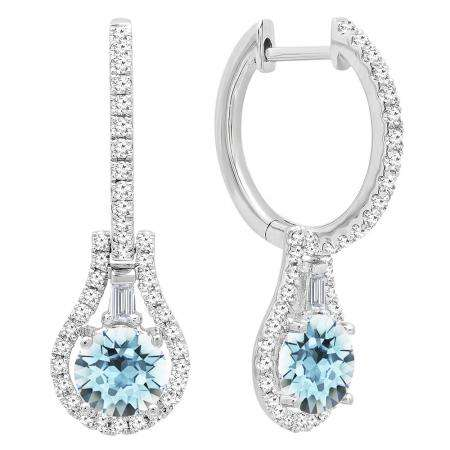10K White Gold 5.5 MM Each Round Cut Aquamarine And Round & Baguette Cut Diamond Drop Earrings