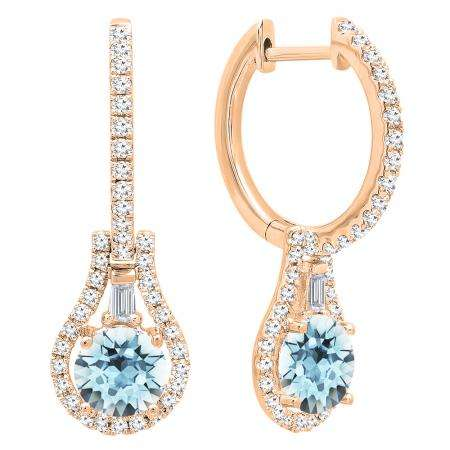 18K Rose Gold 5.5 MM Each Round Cut Aquamarine And Round & Baguette Cut Diamond Drop Earrings
