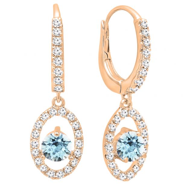 14K Rose Gold 4.5 MM Each Round Cut Aquamarine & White Diamond Ladies Halo Dangling Drop Earrings