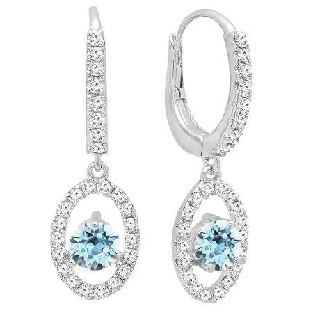 14K White Gold 4.5 MM Each Round Cut Aquamarine & White Diamond Ladies Halo Dangling Drop Earrings